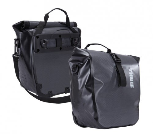 thule fahrradtasche shield pannier paar dark shadow small 25 40x1. Black Bedroom Furniture Sets. Home Design Ideas